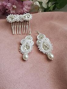 Sady šperkov - Šujtásový set Ag 925 - svadobný hrebienok a náušnice - 10870461_