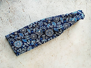 Ozdoby do vlasov - Čelenka - biele kvety na modrom - 10870889_
