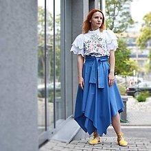 Sukne - Asymetrická sukňa s výraznou viazačkou - 10868859_
