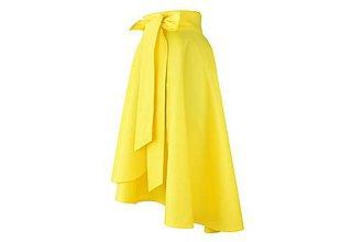 Sukne - elegantná asymetrická zavinovacia sukňa (Žltá) - 10870948_