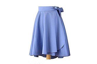 Sukne - elegantná asymetrická zavinovacia sukňa (Nezábudková) - 10870951_