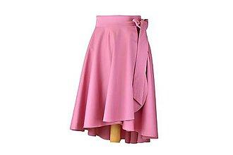 Sukne - elegantná asymetrická zavinovacia sukňa (Ružovo-fialková - posledný kus!) - 10870955_