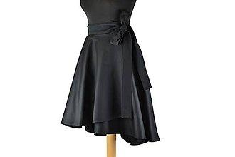 Sukne - elegantná asymetrická zavinovacia sukňa (Čierna) - 10870961_