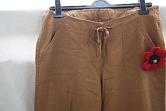 Nohavice - Ľan. Pohodlné rovné ľanové nohavice. - 10870786_