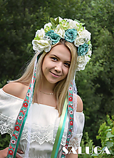 Folklórna parta - mentolová - kvetinová