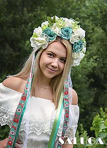 Ozdoby do vlasov - Folklórna parta - mentolová - kvetinová - 10869897_