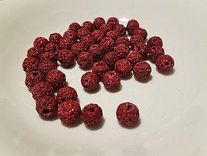 Korálky - Guličky z Lávového kameňa - červené - 10871632_
