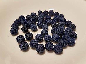 Korálky - Guličky z Lávového kameňa - tmavo modré - 10871634_