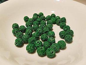 Korálky - Guličky z Lávového kameňa - zelené - 10871635_