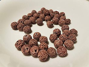 Korálky - Guličky z Lávového kameňa - hnedo-ružové (pleťové) - 10871642_