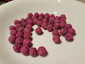 Korálky - Guličky z Lávového kameňa - sýto-ružové - 10871649_