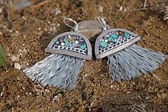 Náušnice - Medúzy šedo - striebristé - 10870755_