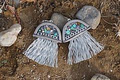 Náušnice - Medúzy šedo - striebristé - 10870764_