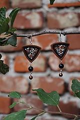 Náušnice - Velúrovky - hnedý trojuholník - 10870840_