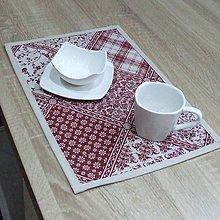 Úžitkový textil - KAMILA-bordó patchwork a káro na režnej-prestieranie 28x40 - 10869063_