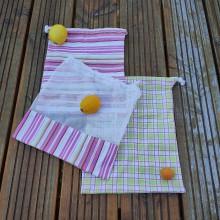 Úžitkový textil - Zero waste sada  (3 mentolové vrecúška) - 10868652_