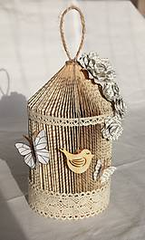 Vtáčia klietka - vyrobená z knihy a papiera