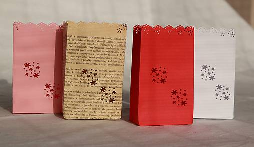 Papierový svietnik (s dnom) - kvetinový motív (rôzne farby)