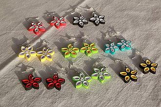 Náušnice - Kvetinky - visiace náušnice z papiera (rôzne farby) - 10870549_