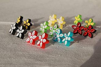 Náušnice - Kvetinky - zapichovacie náušnice z papiera (rôzne farby) - 10870556_