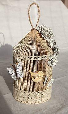 Dekorácie - Vtáčia klietka - vyrobená z knihy a papiera - 10870823_