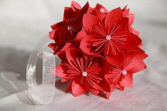 Kytice pre nevestu - Guľa z papierových kvetov (rôzne farby) - 10870901_