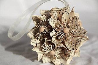 Kytice pre nevestu - Guľa z papierových kvetov (rôzne farby) - 10870903_