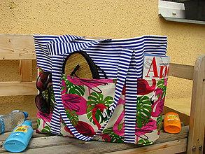 Veľké tašky - Plážová (oversized) taška - Plameňáci z Aruby - 10869184_