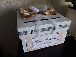 Krabičky - Svadobná pokladnička - zlatá +  marhulka - 10868686_