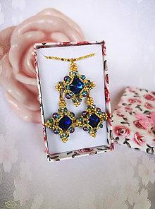 Sady šperkov - Šitá súprava náušníc a náhrdelníka, Swarovski - 10869911_
