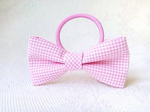 Ozdoby do vlasov - Kockovaná mašlička do vlasov (ružovo-biela) - 10874488_