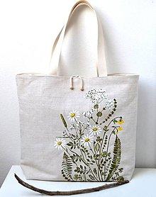Veľké tašky - Veľká ľanová taška-plážová - 10874263_