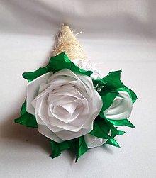 Dekorácie - Kytička - ružičky v kornútku (Biele ružičky) - 10872654_