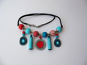 Náhrdelníky - ,,Náhrdelník tyrkys-červená,, - 10872447_