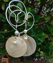 Náušnice - perleťové kruhy - 10874555_