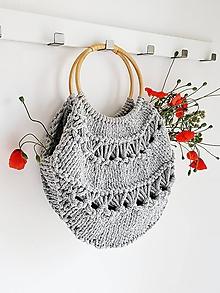 Kabelky - Pletená kabelka s rúčkami - sivá - 10871822_