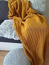 Úžitkový textil - HYGGE háčkovaný prehoz MUSTARD - 10872935_