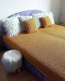 Úžitkový textil - HYGGE háčkovaný prehoz MUSTARD - 10872934_