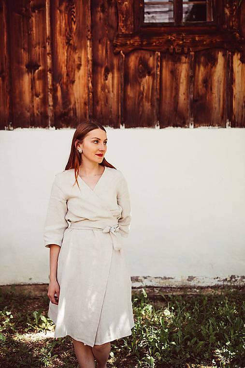 Šaty - Ľanové zavinovacie šaty - 10874761_