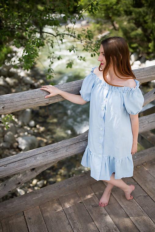 Šaty - Ľanové riasené šaty s gumičkou (Modrá) - 10874820_