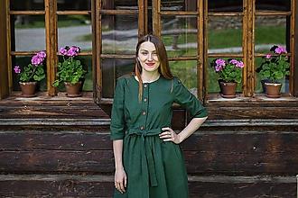 Šaty - Ľanové šaty s riasenou sukňou-ALŽBETA - 10874678_