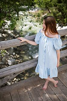 Šaty - Ľanové riasené šaty s gumičkou - 10874820_