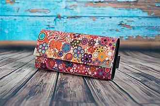 Peňaženky - Kytičky a bublinky - Oranžové - 10873721_