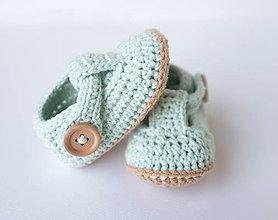 Topánočky - papučky/sandálky (mentolovo-béžové) - 10874328_