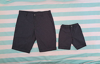 Nohavice - RODINNÉ ROVNAKÉ OBLEČENIE - pánske krátke nohavice (Čierna) - 10873909_
