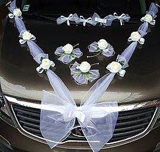 Dekorácie - Svadobná výzdoba na auto-smotanová - 10874008_
