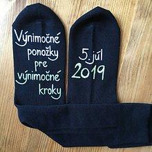 """Obuv - Maľované ponožky pre ženícha (Čierne v bielo zelenej + dátum"""") - 10874688_"""