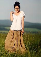 Sukne - Lněná maxi sukně s tiskem - Oříškově hnědá - 10874928_