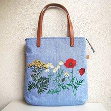 Veľké tašky - Džínsová recy taška na veľ. A4 svetlomodrá / lúčne kvety 2 - 10873371_