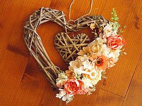 Dekorácie - Srdce marhuľkovo-lososové s kľučom 30cm - 10873156_